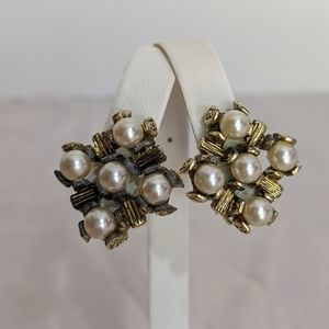 Vintage Gold tone faux pearl square clip earrings